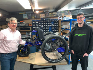 Photo of Rich Dale, CEO Flowlens MRP software, and Tim Morgan MD - The Mountain Trike Company - off road wheelchairs