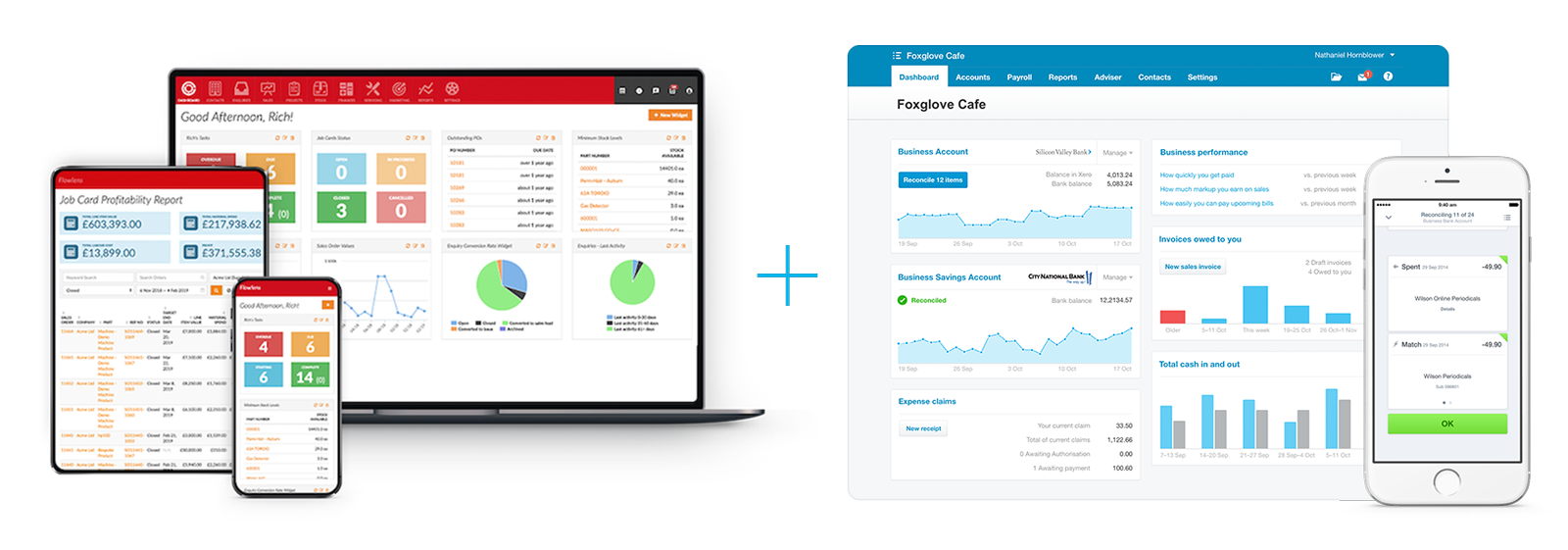 screenshots of Flowlens MRP software and Xero accounting software