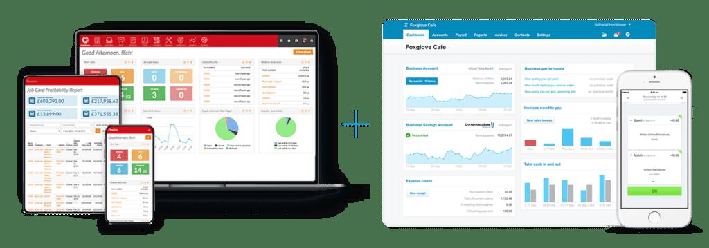 screenshots of Flowlens MRP Software and Xero accounts software