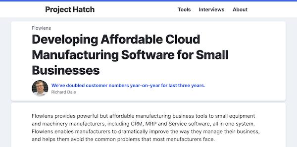 Project Hatch flowlens mrp software for small business interview screenshot