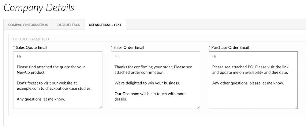 flowlens MRP system email default templates