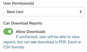 flowlens user permissions data download toggle