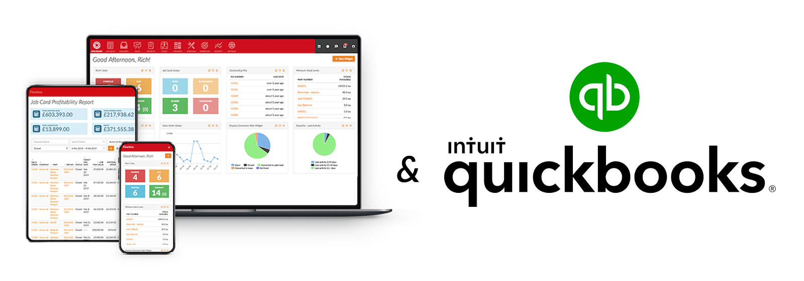 screenshot of Flowlens MRP software and QuickBooks accounting software logo