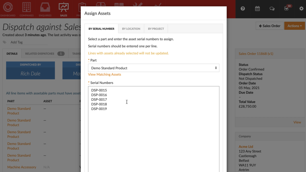 Flowlens Bulk Serialised Product dispatch - input assets