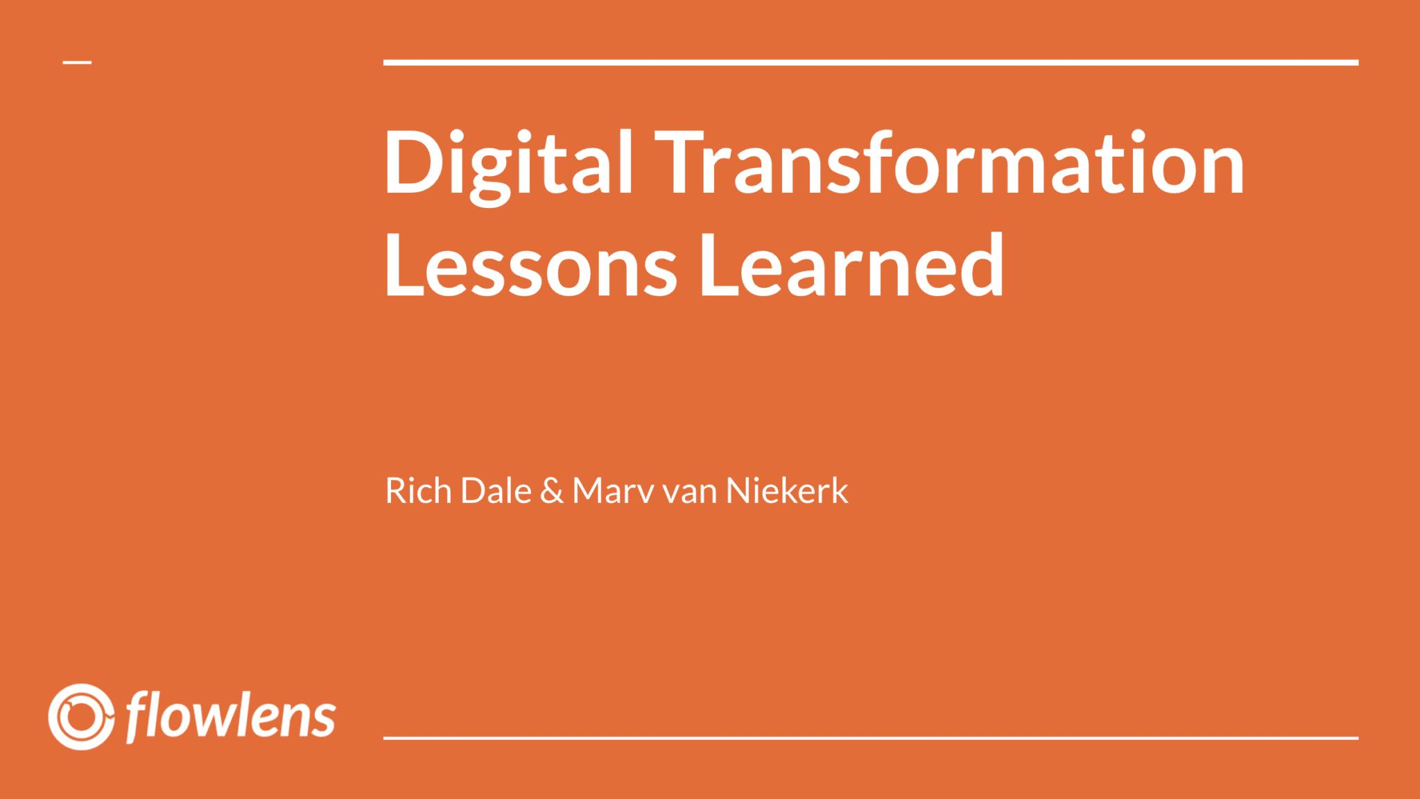Digital Transformation Lessons Learned title slide